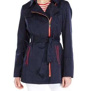 Vince Camuto Assymetrical Trench Navy w/Red accent